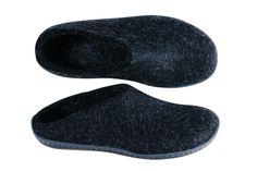 Felt slippers w. rubber sole Charcoal