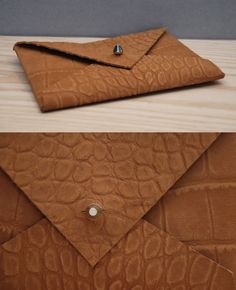 Select Small Embossed Camel-Brown Leather Envelope Clutch by Colleen Caron of Dirigo Craft & Supply Co.