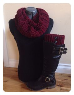 Boot cuff set with infinity scarf - Wine Red by GrindleHillFineGoods on Etsy https://www.etsy.com/listing/208374980/boot-cuff-set-with-infinity-scarf-wine