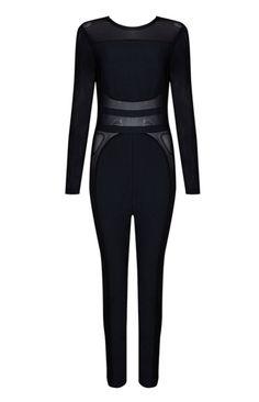 Black Bandage Sheer Panel Jumpsuit. #slayaccessories #jumpsuits #jumpsuit #blackjumpsuit #bodycon