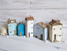 Set of 5 Small Cottages, Wooden Village Ornaments for Shelf, Houses for Decor, Wood Cottage Sculpture, anniversary gift Cottage In The Woods, House In The Woods, Wood Cottage, Small Wooden House, Wooden Houses, Saltbox Houses, Small Cottages, Little Houses, Mini Houses