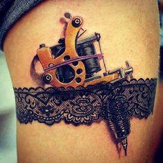 Love the lace garter.. But would want a regular gun, not tattoo gun