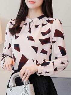 Autumn spring cotton women geometric long sleeve blouses in Frock Fashion, Hijab Fashion, Korean Fashion, Fashion Dresses, Fashion Clothes, Blouse Styles, Blouse Designs, Spring Blouses, Autumn Blouses