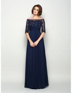 A-Line Off-the-shoulder Floor-length Chiffon Mother of the Bride dresses With Lace