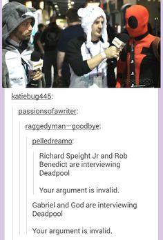 Gabriel and God interviewing Deadpool