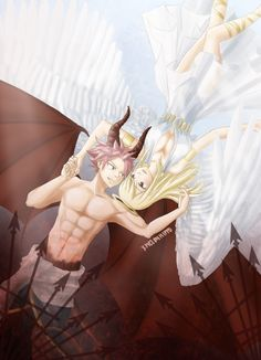 "melonxhippo: "" NALU :: Happy Halloween 2015! Here's the NaLu Shipping of Devil and Angel! For me, I thought that this was a perfect fit for the two ^^! >As many of you may know, Natsu (AHEM END AHEM..."