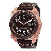 Hamilton Men's Khaki Navy Below Zero Divers Swiss Automatic Brown Leather Strap Watch ShopNBC.com
