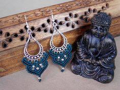 Macrame earrings tribal earrings bohemian jewelry by QuetzArt