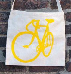 Photo of Bicycle Art Tote Bag - Musette - Yellow Track Bike Bag