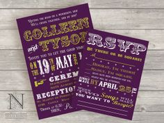 Vintage Poster Wedding Invitations with RSVPs  Nellia by nellybean