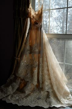 Dream dress, Love the color the train the cut and the fact that it looks vintage.this is beautiful Vestidos Vintage, Vintage Dresses, Vintage Outfits, Vintage Lace, Antique Lace, Vintage Style, Bridal Gowns, Wedding Gowns, Lace Wedding