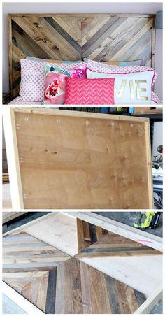 Robust Wooden Chevron Headboard - 78 Superb DIY Headboard Ideas for Your Beautiful Room