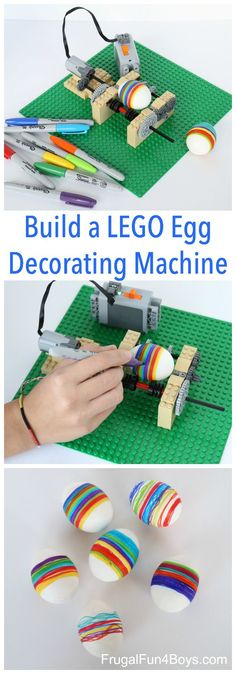 to Build an Awesome LEGO Egg Decorating Machine - Frugal Fun For Boys and Girls How to Build an Awesome LEGO Egg Decorating Machine - It spins the egg!How to Build an Awesome LEGO Egg Decorating Machine - It spins the egg! Lego Duplo, Wedo Lego, Lego Toys, Lego Mindstorms, Lego For Kids, Science For Kids, Toys For Boys, Earth Science, Legos