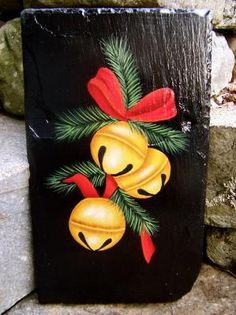 Hand Painted Slates, Plaques, & Signs for your home, from Art Designs . Christmas Paintings On Canvas, Christmas Artwork, Christmas Canvas, Christmas Rock, Christmas Signs, Christmas Ornaments, Christmas Projects, Holiday Crafts, Painted Slate