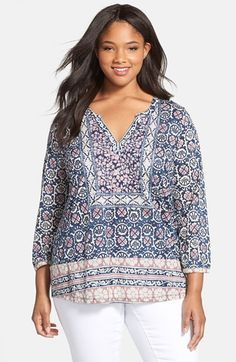 Lucky Brand Floral Print Split Neck Top (Plus Size available at #Nordstrom