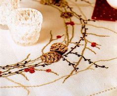 80088 PINE CONES & BERRIES CROSS-STITCH KIT, Purchase online from Spinning Jenny - The Yorkshire Dales Needlework Specialists
