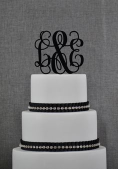 Personalized Monogram Wedding Cake Topper by Chicago Factory