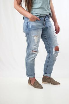 ripped boyfriend denim, non-strech large fits like a 28 for reference - model wears large