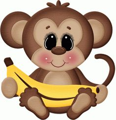 monito con plátano. dibujo a color