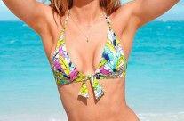 Bikini Palm Print con lazo Victoria's Secret Talla: M Calzón Ruched (foto) $32.990