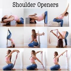 Yoga tips . Release all the tension: Shoulder and chest opening yoga poses Yoga Beginners, Beginner Yoga, Yoga Shoulder, Shoulder Workout, Shoulder Yoga Stretches, Frozen Shoulder Exercises, Upper Back Stretches, Shoulder Tension, Yoga Inspiration