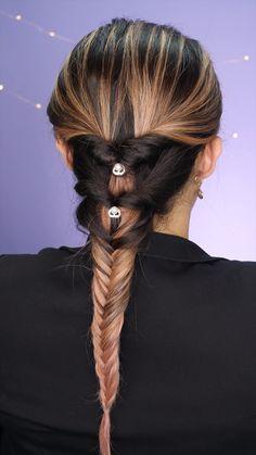 Easy Hairstyles For Long Hair, Pretty Hairstyles, Braided Hairstyles, Hair Yarn, Beauty Makeup, Hair Makeup, Softball Hairstyles, Long Hair Video, Brunette Hair