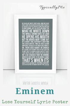 Eminem Poster   Lose Yourself Lyrics   Print A4 A3 Size   Wall Artwork  #ad #eminem #lyrics #walldecor