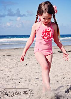 SALE Coral Pink Halter Swimsuit for toddler and girl por bitsybear