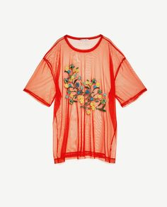 FLORAL EMBROIDERY TULLE T-SHIRT