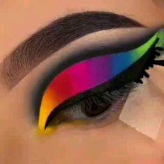 Makeup looks: dramatic eye makeup - yellow red pink purple blue and green cut crease eyeshadow Makeup Eye Looks, Dramatic Eye Makeup, Eye Makeup Steps, Eye Makeup Art, Beautiful Eye Makeup, Crazy Makeup, Cute Makeup, Eyeshadow Makeup, Rainbow Eye Makeup