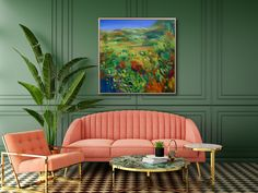 Gorgeous original abstract painting with coral sofa and armchair brass gold finish black and white floor and farrow and ball green walls indoor plants Modern Bathrooms Interior, Bathroom Interior Design, Concrete Background, Artwork Online, Live Coral, White Walls, Green Walls, Space Architecture, Outdoor Furniture Sets