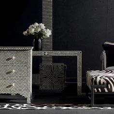 Bernhardt Interiors. Ivory and black bone inlay pieces