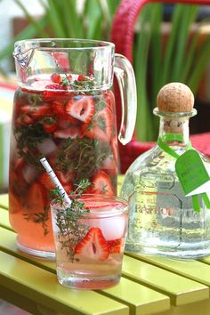 Strawberry Thyme Punch with Patrón Silver. Yum! Making this gorgeous drink tonight for a dinner party, perfect with shrimp tacos and guacamole! Ole!