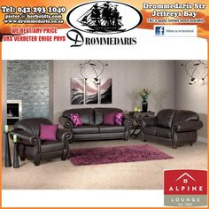 The Alpine Kwazi Lounge Suite has a unique charm about it, this set will look good in a traditional decor setting or any room that has a modern decor theme. Lounge Furniture, Furniture Sets, Lounge Suites, Sofa, Couch, Traditional Decor, Furniture Manufacturers, Recliner, Modern Decor