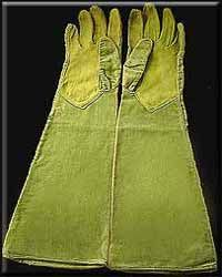 Chartreuse Chanel velvet gloves