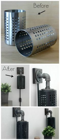 Transform some old lamps and Ikea utencil holders into thes impressive industrial light fixtures. Step by step instructions to create these DIY sconces. Before and After Ikea Containers.