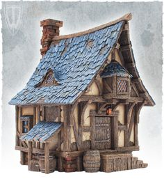 diorama ideas A little bit of small medieval town. Few months ago we have managed to find a nice house,moved in, settled down, had some parties and now it is time to come back to hobby. 3d Fantasy, Fantasy House, Medieval Fantasy, Fantasy World, Casa Medieval Minecraft, Medieval Houses, Medieval Town, Miniature Houses, Architecture Sketches