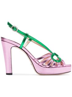 1b3709ffd3c Gucci Metallic Leather Sandal. Gucci metallic pink 105 slingback sandals