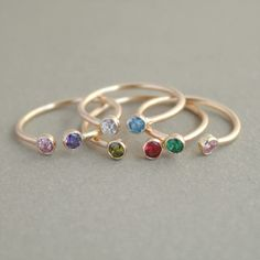 dual birthstone ring in GOLD. two stone ring. di MeadowbelleMarket