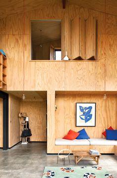 Дизайн комнаты с фанерой