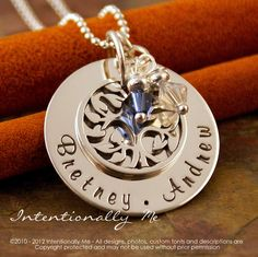 Hand Stamped Mommy Jewelry - Sterling Silver Personalized Mommy Necklace - Family Tree Pendant - My Family (Small). $65.00, via Etsy.
