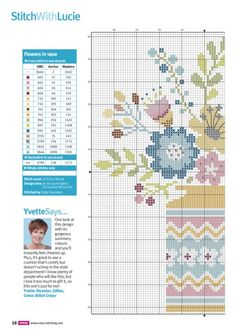 Bloom Bright (Lucie Heaton) From Cross Stitch Crazy August 2016 3 of 4 Cross Stitch Uk, Cross Stitch Pillow, Cross Stitch Flowers, Cross Stitch Charts, Cross Stitch Designs, Cross Stitch Embroidery, Cross Stitch Patterns, Cross Stitch Collection, Needlework
