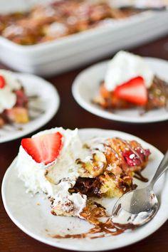 strawberry, banana & nutella bread pudding