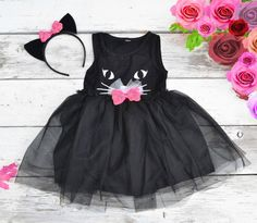 Black Cat Tutu Dress Halloween Costume Kitty by MaidenLaneBoutique