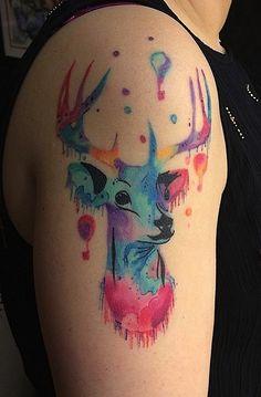 Watercolor Deer Tattoo Designs | Cuded