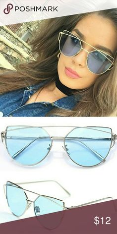 Women Sunglasses Brand New Women Silver Cat Eye Metal Frame Sunglasses Transparent Blue Lens Accessories Sunglasses