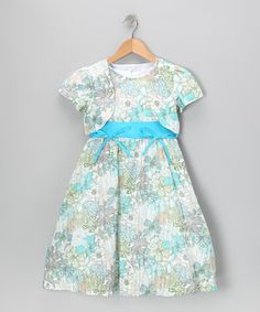14.99 Take a look at this Growing Up Green Floral Bow Dress & Shrug - Toddler & Girls by Growing Up on #zulily today!