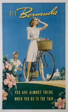 See Bermuda, You Are Almost There, Vintage Travel Poster.