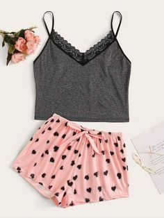 Shop Heart Print Lace Trim Cami PJ Set at ROMWE, discover more fashion styles online. Cute Sleepwear, Sleepwear Women, Pajamas Women, Cute Pajama Sets, Cute Pajamas, Cute Lazy Outfits, Stylish Outfits, Pajama Outfits, Teen Fashion Outfits