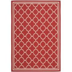 "Poolside Red/Bone Indoor/Outdoor Area Rug (6'7"" x 9'6"") | Overstock.com Shopping - The Best Deals on 5x8 - 6x9 Rugs"